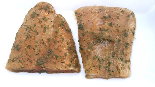 Marinated fish portion